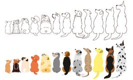 Many Dogs looking up sideways in a row. Brown line arts and with colors vector illustration