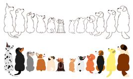 Many Dogs looking up sideways in two rows. Brown line arts and with colors vector illustration