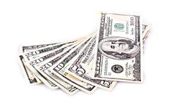 Many dollar banknotes isolated Royalty Free Stock Photos