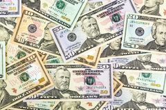 Many dollar bills Royalty Free Stock Photos