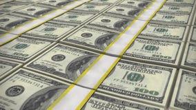 Many 100 dollar bills. Money as background stock video footage