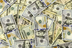 Many Dollar Bills Spread Out. Crisp clean bills spread out Stock Images