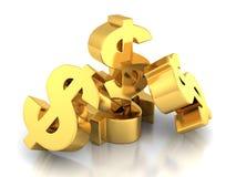 Many Dollar Currency symbols On White Background Royalty Free Stock Image