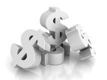 Many Dollar Currency symbols On White Background Stock Photo