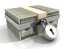 Many 100 dollar packs locked by safety padlock Royalty Free Stock Photography