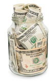 Many dollars in a glass jar Royalty Free Stock Photos