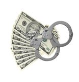 Many dollars and handcuffs isolated on white Royalty Free Stock Photos