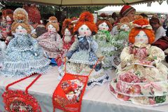 Many dolls, souvenirs from Russia. stock image