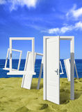 Many door at ocean Royalty Free Stock Photography