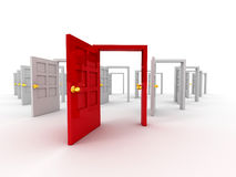 Many doors. On white background. 3d Royalty Free Stock Photos