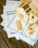 Many drawings for building and house on old wooden Stock Image