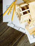 Many drawings for building and house on old wooden Stock Photo