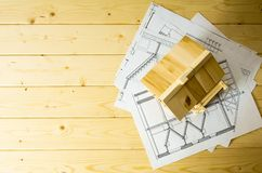 Many drawings for building and house on wooden Royalty Free Stock Photo