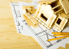 Many drawings for building, pencils and small Royalty Free Stock Photo
