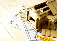 Many drawings for building, pencils and small Royalty Free Stock Images