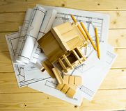 Many drawings for building, pencils and small Stock Photo