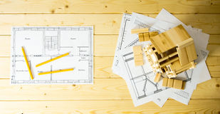 Many drawings for building, pencils and small Stock Image