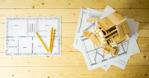 Many drawings for building, pencils and small Stock Images