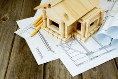 Many drawings for building and small house on old Stock Photo