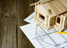 Many drawings for building and small house on old Royalty Free Stock Photo