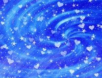 Many dreamy flying stars and hearts Stock Image