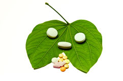 Many drugs on leaf Stock Image