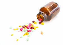 Many drugs overflow from the bottle Royalty Free Stock Images