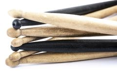 Many drum sticks of two colors isolate. Many drum sticks of two colors of black and white isolates royalty free stock image