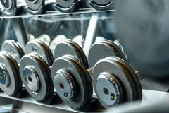 Many Dumbbells in Sport. Many Dumbbells in Sport Fitness Center Royalty Free Stock Image