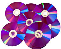 Many DVD media discs on pile Royalty Free Stock Image