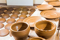 Many earthen pots kept for drying Royalty Free Stock Image