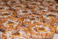 Easter cakes with chocolate. A lot of Easter roscas filled with cream Royalty Free Stock Photography