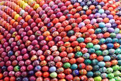 So many Easter Eggs!. Many Easter Bright Colorful Eggs Hand Painted Royalty Free Stock Image