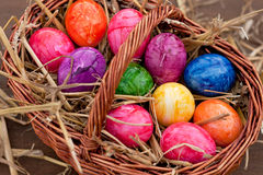 Many Easter eggs in a brown basket Royalty Free Stock Photo