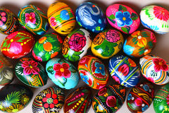 Many Easter eggs, different colors, with different patterns Royalty Free Stock Photo