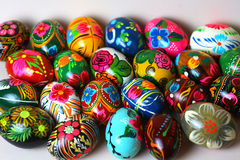 Many Easter eggs, different colors Stock Image