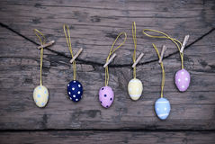 Many Easter Eggs Hanging On Line With Frame Stock Images
