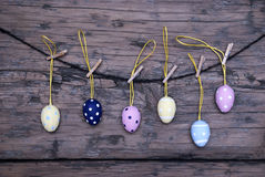 Many Easter Eggs Hanging On Line Royalty Free Stock Photography
