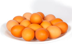 Many eggs on a plate Stock Photo