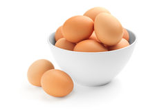 Many eggs in a porcelain bowl Stock Photo