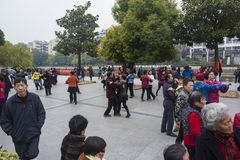 The nanjing crowd square dance. Many elderly people in nanjing, jiangsu province, in parks, citizens and other vacant lots for square dancing. Enrich old age Royalty Free Stock Photography