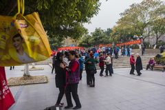 The nanjing crowd square dance. Many elderly people in nanjing, jiangsu province, in parks, citizens and other vacant lots for square dancing. Enrich old age Stock Images