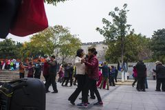 The nanjing crowd square dance. Many elderly people in nanjing, jiangsu province, in parks, citizens and other vacant lots for square dancing. Enrich old age Royalty Free Stock Image