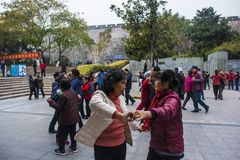 The nanjing crowd square dance. Many elderly people in nanjing, jiangsu province, in parks, citizens and other vacant lots for square dancing. Enrich old age Royalty Free Stock Photo