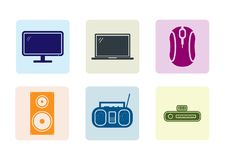 Electric Flate Icons stock illustration