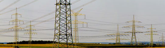 Many electric poles Royalty Free Stock Images