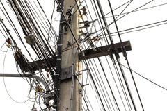 Many electrical wires on poles Royalty Free Stock Photography