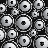 Many elegant white and black loudspeakers Stock Photo