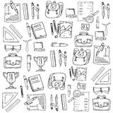 Many element school in doodle Royalty Free Stock Photo