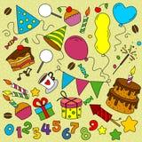 Many elements birthday. Many multicolored elements birthday background Stock Image